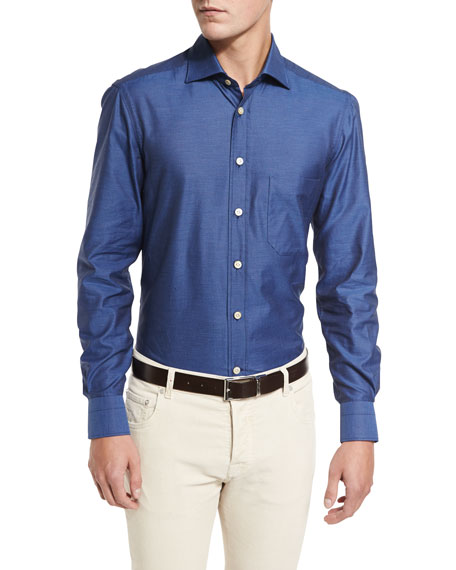 Kiton Royal Oxford Shirt, Blue