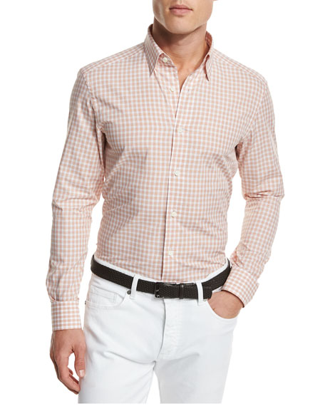 Ermenegildo Zegna Gingham Woven Sport Shirt, Orange