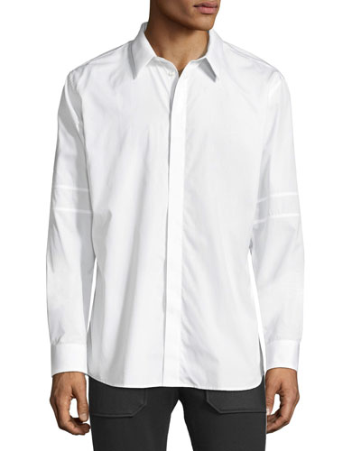 Long-Sleeve Sport Shirt with Tonal Star & Armband, White