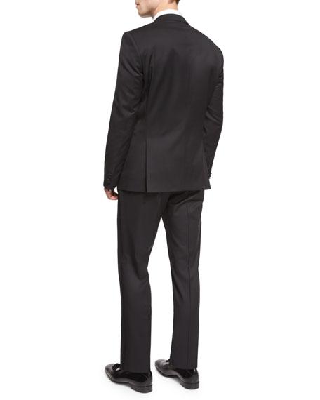Huge Genius Peak-Lapel Slim Tuxedo, Black