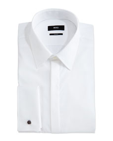 boss ilias hidden placket solid tuxedo shirt white