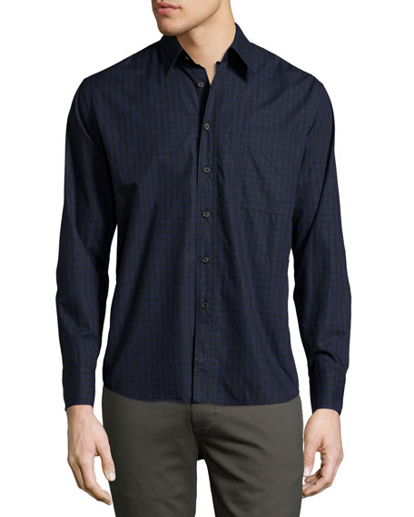 Billy Reid Tuscumbia Box-Check Oxford Shirt, Black/Blue