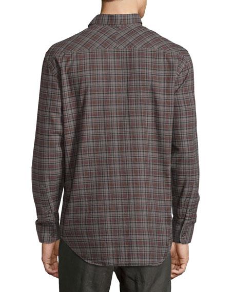 John Plaid Oxford Shirt, Gray/Brown