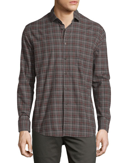 Billy Reid John Plaid Oxford Shirt, Gray/Brown