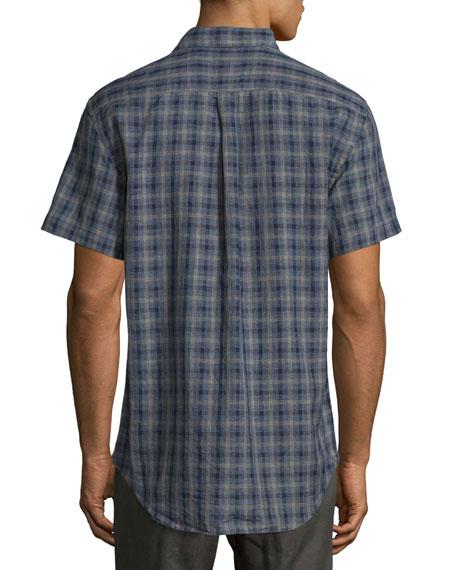 Graham Plaid Short-Sleeve Sport Shirt, Navy