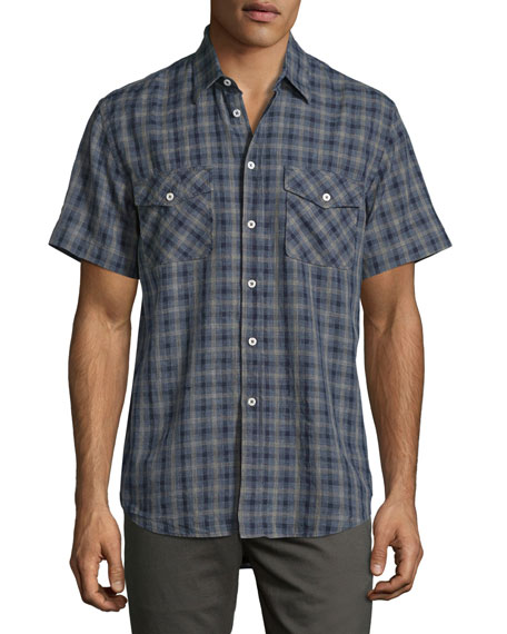 Graham Plaid Short-Sleeve Sport Shirt, Navy
