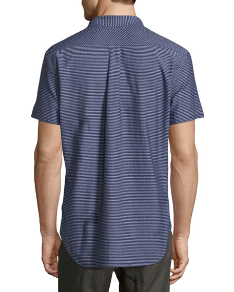 Tuscumbia Striped Short-Sleeve Sport Shirt, Indigo