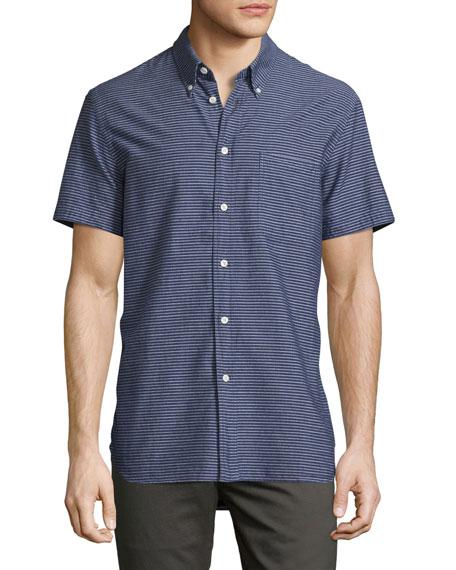 Billy Reid Tuscumbia Striped Short-Sleeve Sport Shirt, Indigo