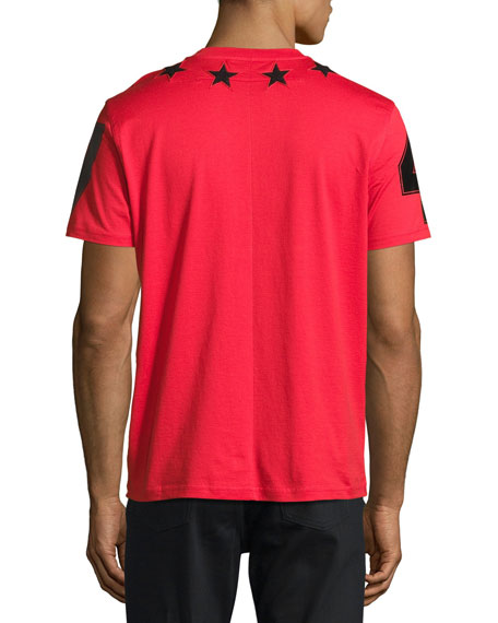 Cuban-Fit Star-Appliqué T-Shirt, Red