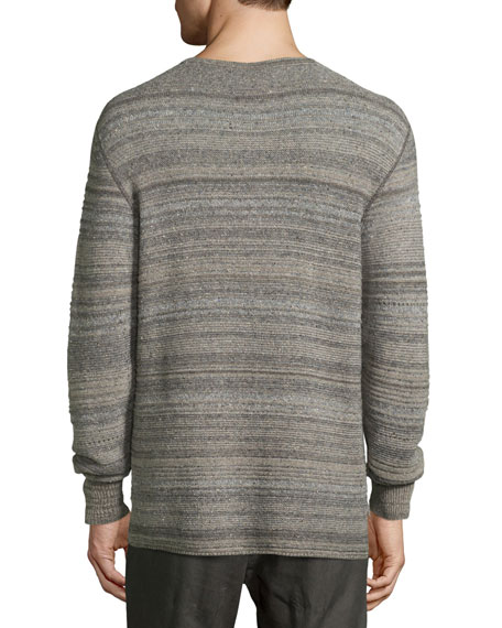 Striped Henley Sweater, Gray