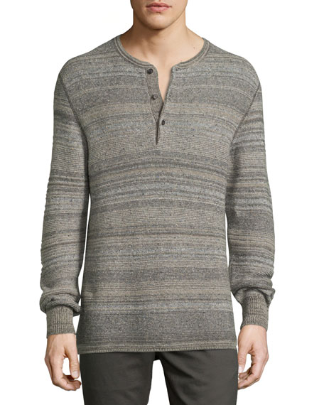 Billy Reid Striped Henley Sweater, Gray