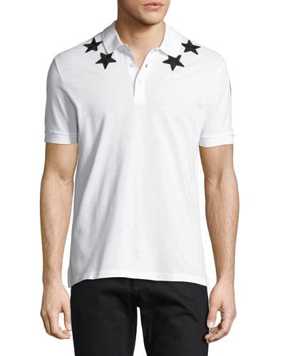 Cuban-Fit Star-Appliqué Polo Shirt, White/Black