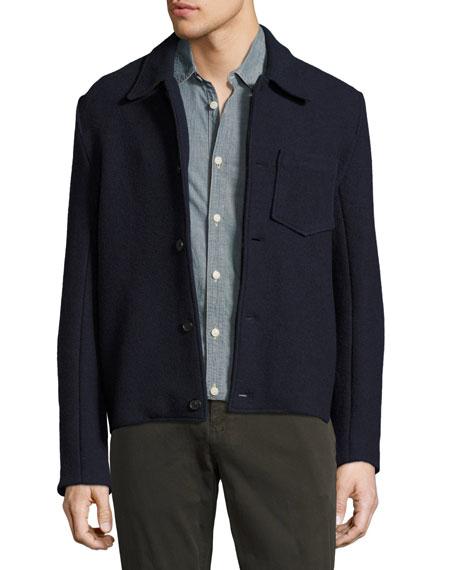 Billy Reid Gunner Boiled Wool Jacket, Navy