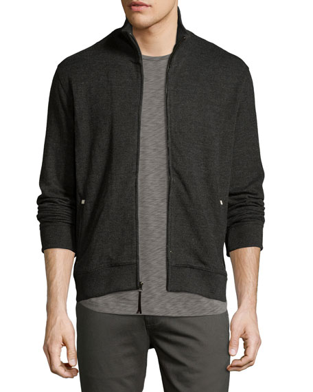 Ribbed Track Jacket, Charcoal