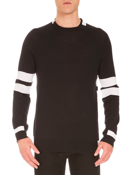 Givenchy Striped Wool Sweater, Black