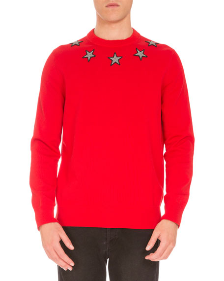 Givenchy Star-Embroidered Crewneck Sweater, Red