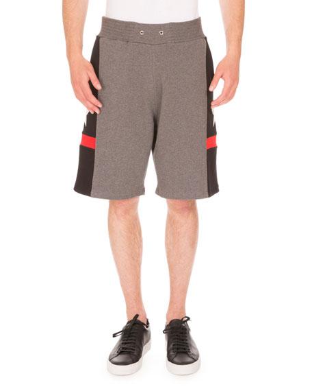 Star-Print Paneled Sweat Shorts, Gray