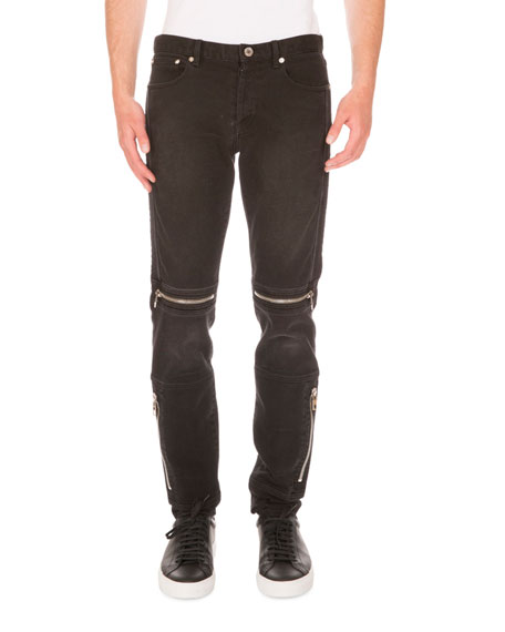 Givenchy Moto Straight-Leg Denim Jeans, Black