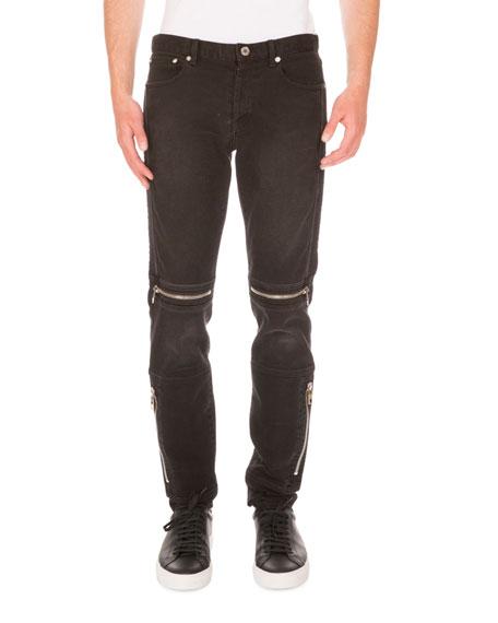 Moto Straight-Leg Denim Jeans, Black