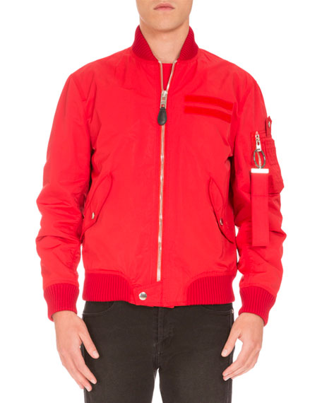Givenchy Nylon Bomber Jacket, Red