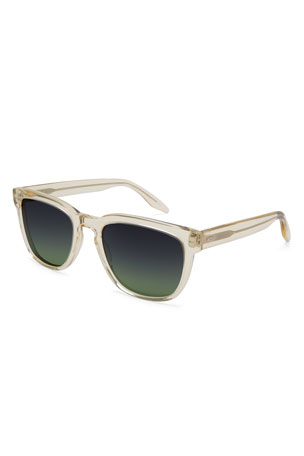 Barton Perreira Men's Coltrane Square Acetate Sunglasses, Champagne