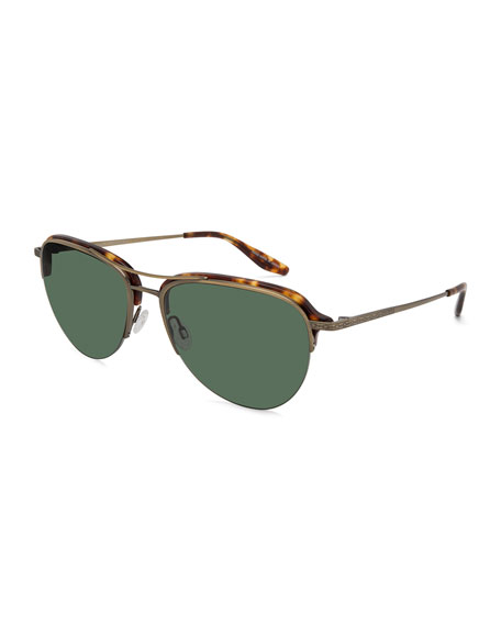 Airman Half-Rim Aviator Sunglasses, Chestnut/Antique Golden