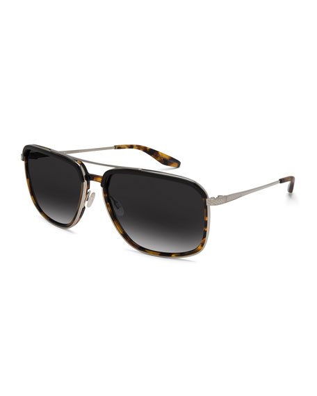 Men's Magnate Polarized Rectangular Aviator Sunglasses, Black Amber Tortoise/Silver/Nightfall