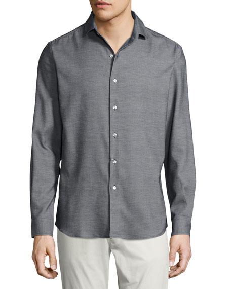 Ralph Lauren Textured Silk-Cotton Sport Shirt, Black