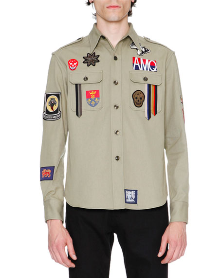 Alexander McQueen Military Shirt-Jacket w/Patches, Beige