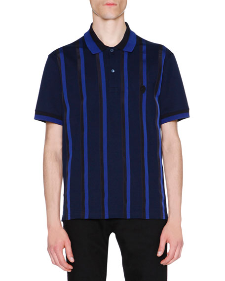 Alexander McQueen Ribbon-Stripe Polo Shirt, Navy/Black