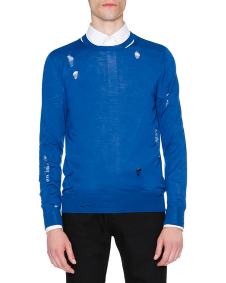 Alexander McQueen Distressed Crewneck Sweater, Blue