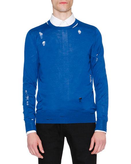 Alexander McQueen Distressed Crewneck Sweater, Blue