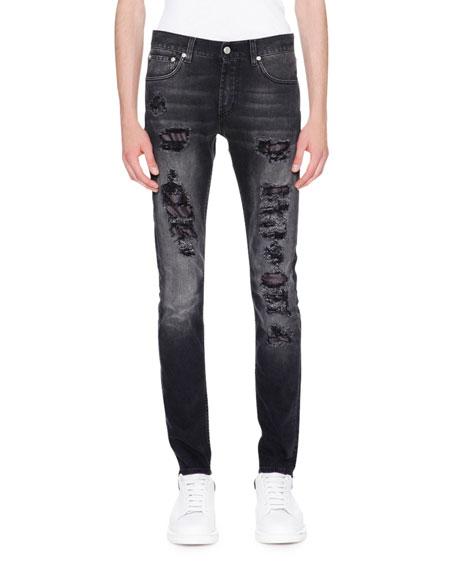 Alexander McQueen Contrast-Underlay Destroyed Skinny Jeans, Black