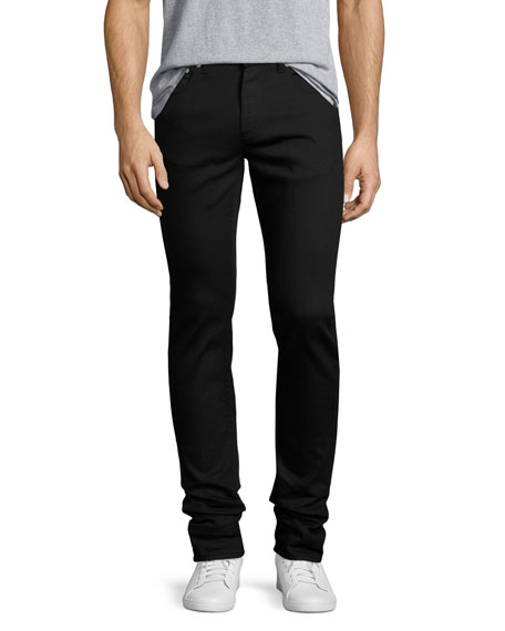 Alexander McQueen Clean-Denim Skinny Jeans with Skull Hip