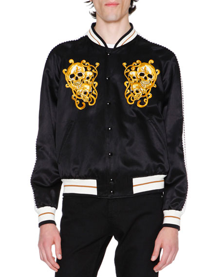 Alexander McQueen Embroidered Skulls Silk Varsity Jacket, Black
