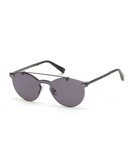 Ermenegildo Zegna Rimless Double-Bar Round Sunglasses ...