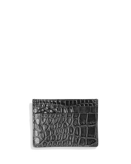Men's Alligator Card Case, Black