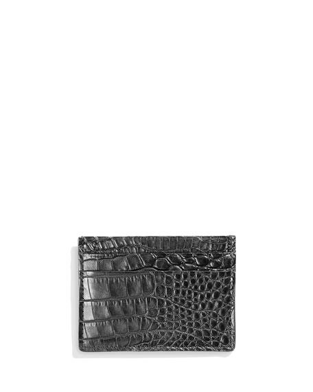 Shinola Alligator Card Case, Black