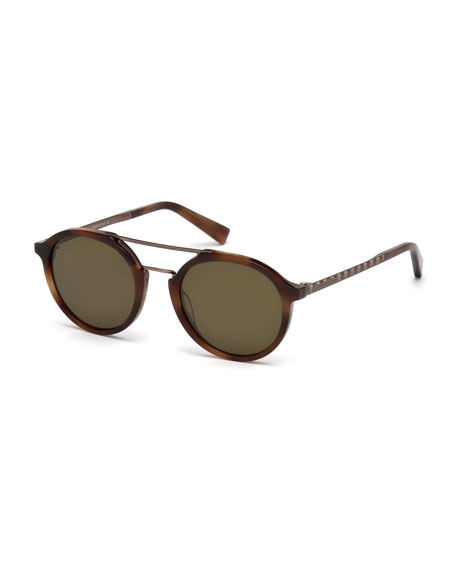 Acetate & Titanium Double-Bar Round Sunglasses, Havana