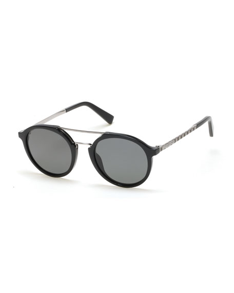 Acetate & Titanium Double-Bar Round Sunglasses, Black