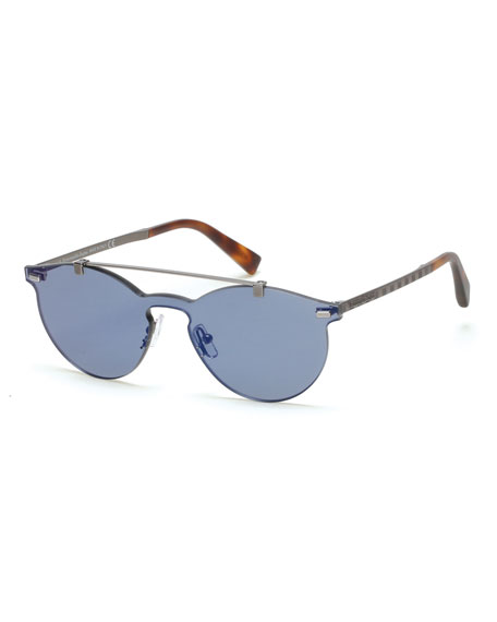 Rimless Double-Bar Round Sunglasses, Blue/Havana