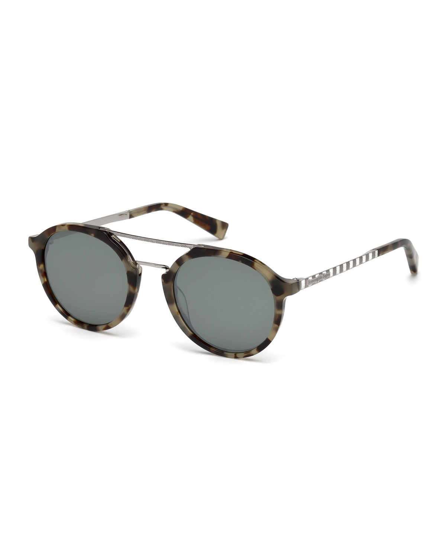 69920575872 Ermenegildo Zegna Acetate   Titanium Double-Bar Round Sunglasses ...