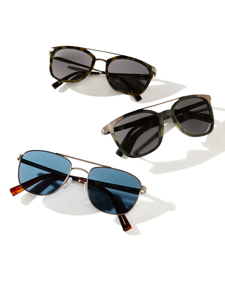 Titanium Double-Bar Aviator Sunglasses, Silver