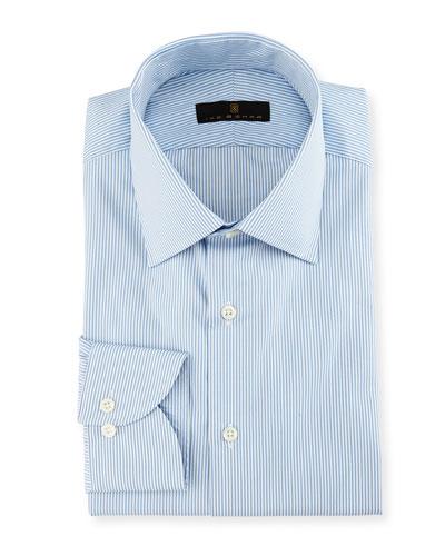 Gold Label Striped Dress Shirt, White/Blue