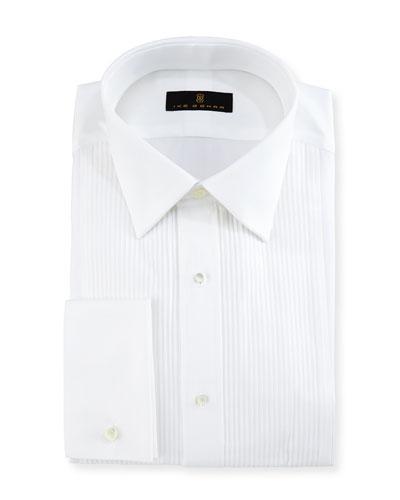 Gold Label Pleated-Bib Tuxedo Shirt, White