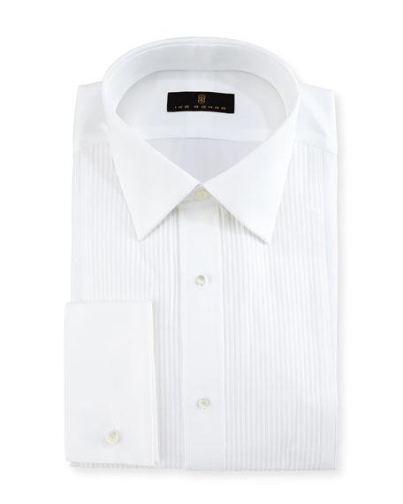 Ike Behar Gold Label Pleated-Bib Tuxedo Shirt, White