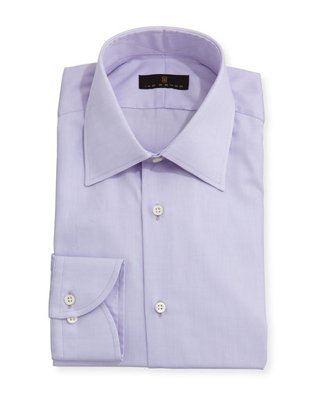 Ike Behar Gold Label Micro-Herringbone Dress Shirt, Lavender