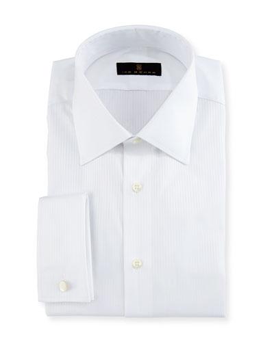 Gold Label Textured-Stripe Dress Shirt, White