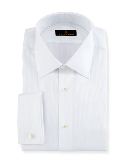 Gold Label Textured-Stripe Dress Shirt, White