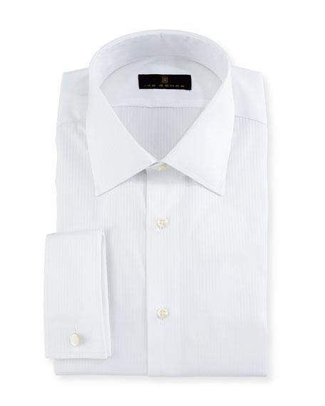 Ike Behar Gold Label Textured-Stripe Dress Shirt, White
